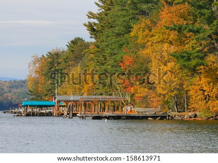 Fall foliage on Lake Winnipesaukee in Gilford New Hampshire