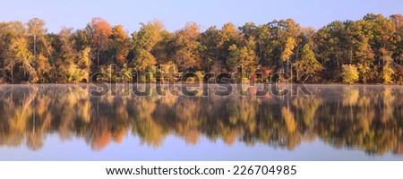 Fall foliage on the Potomac River, Virginia - stock photo