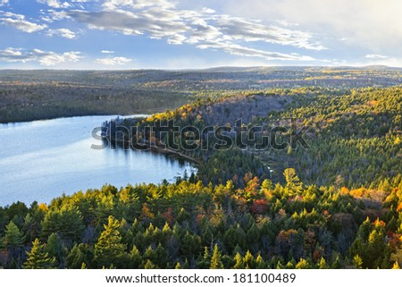 Fall forest and lake with colorful trees from above in Algonquin Park, Canada - stock photo