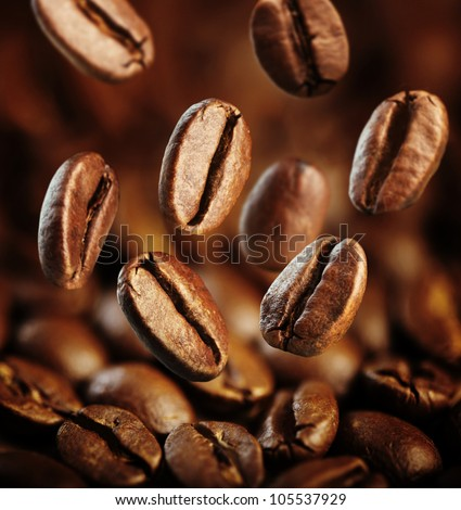 fall fresh coffee beans background - stock photo