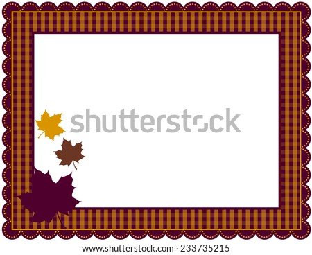 Fall Gingham Frame-Gingham patterned frame with scalloped border designed in Fall theme colors with falling leaves - stock photo