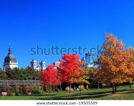fall in downtown Minneapolis - stock photo