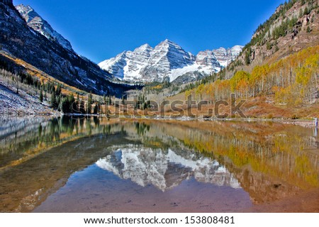 fall in maroon bells snowmass wilderness nature reserve  - stock photo