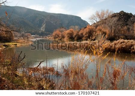 Fall in Rio Grande Recreation area, New Mexico - stock photo