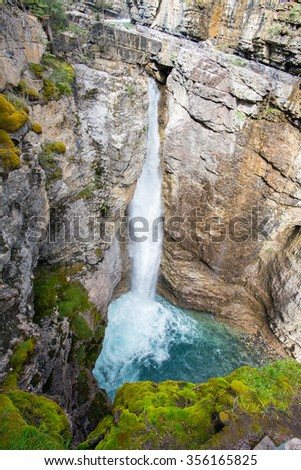 fall in the Johnston Canyon of the banff national park in alberta canada