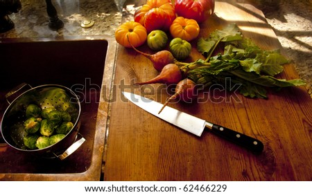 Fall Kitchen Window light  Vegetables - stock photo
