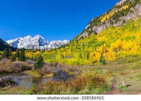 Fall Landscape of Maroon Bells Aspen Colorado - stock photo