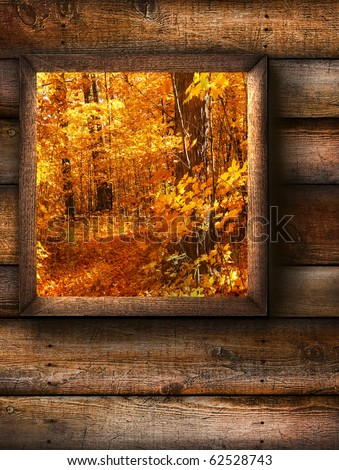 Fall landscape view through a pine window