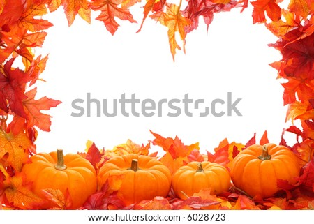 Fall leaf border with pumpkins isolated on a white background