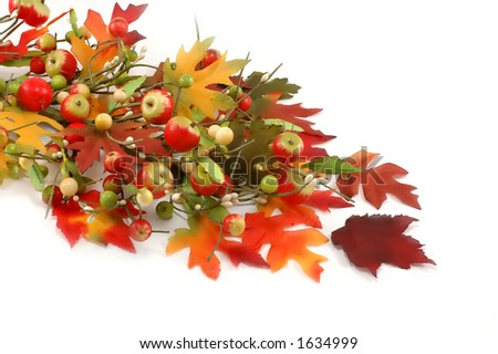 Fall leafs and apples decoration - thanksgiving - stock photo