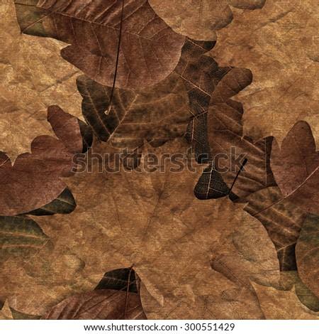 Fall leafs seamless pattern. - stock photo
