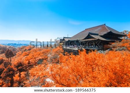 Fall Leaves at Clear Water Temple (Kiyomizu), Kyoto, Japan - stock photo