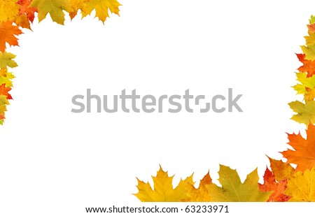 Fall leaves on white background, fall border - stock photo
