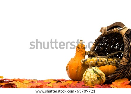 Fall leaves with a pumpkins, gourds and a basket isolated on a white background, Fall Scene - stock photo