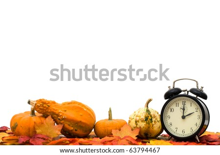 Fall leaves with pumpkins and gourds isolated on a white background, Time Change - stock photo