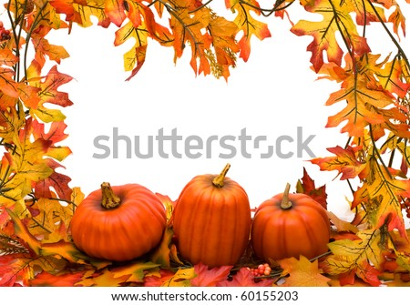 Fall leaves with pumpkins isolated on white, fall border