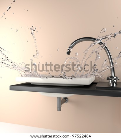 fall of water over a sink - stock photo