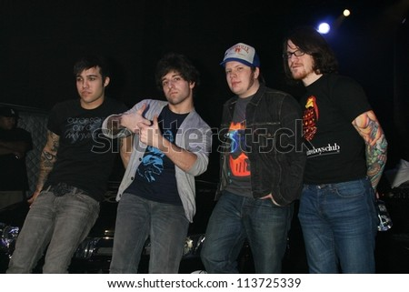 Fall Out Boy performing live. American Honda Motor Co. Inc. Torrance, CA. 01-05-07 - stock photo