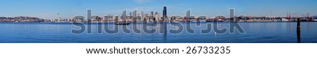 Fall Panoramic Image of the city of Seattle from Capital hill and Ballard for cargo port with some cargo ship on the water. It's nice city for life and travel. - stock photo