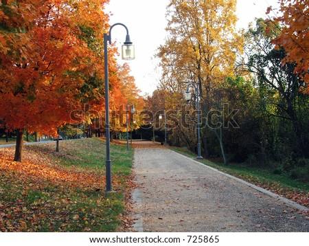 Fall Pathway in Winston Salem - stock photo