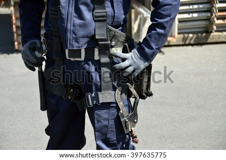 Fall Protection Systems; full harness type safety belt,Japan  - stock photo