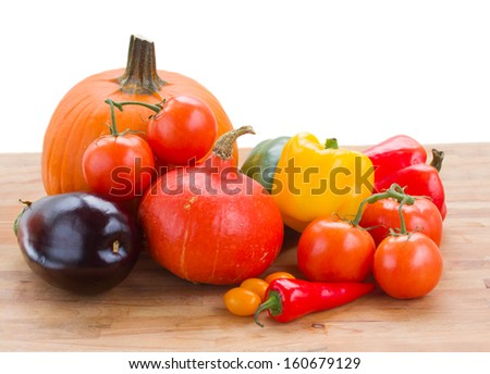 fall ripe of colorful vegetables  isolated on white background - stock photo