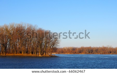 Fall river scene over the Mississippi river Iowa - stock photo
