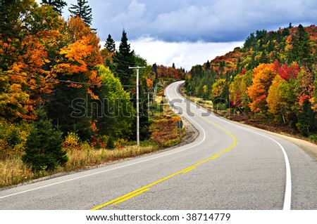 Fall scenic highway in northern Ontario, Canada - stock photo