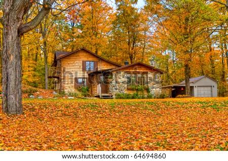 Fall season around a cabin - stock photo