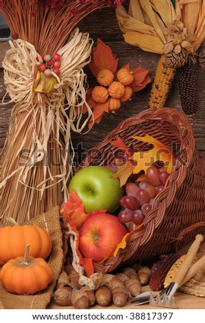 Fall Still Life with Pumpkins, cornucopia and fresh fruits. Vertical Composition. - stock photo