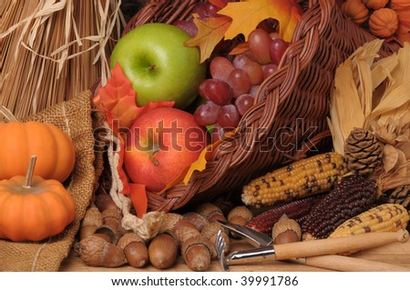 Fall Still Life with Pumpkins, Cornucopia, Fruit and Vegetables, horizontal composition - stock photo