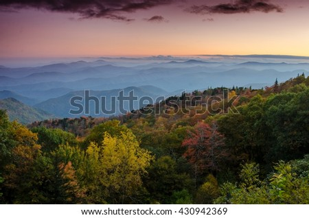 Fall Sunset over the Blue Ridge parkway at a lookout in North Carolina - stock photo