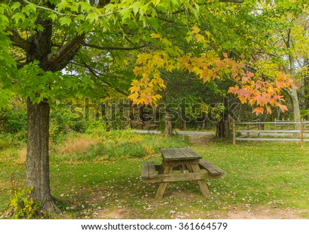 Fall time at Claude Moore Park, Virginia - stock photo
