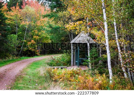 Fall walking trail and covered picnic table in rural Prince Edward Island, Canada - stock photo