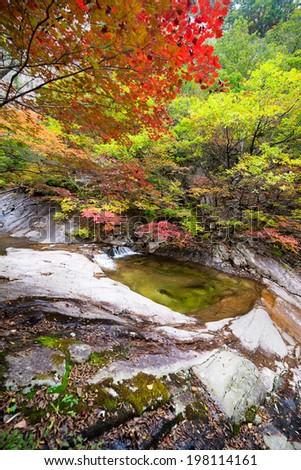 Fall waterfall spring at Seoraksan National Park, South korea  - stock photo