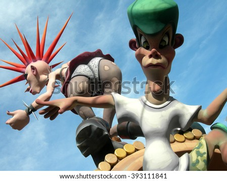 Fallas, Valencia, Spain - March 2008 - stock photo