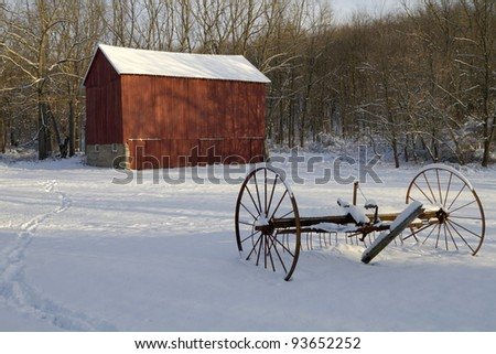 Fallasburg Barn winter -- Lowell, Michigan, USA - stock photo