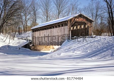 Fallasburg Covered Bridge in Winter , Lowell Michigan - stock photo
