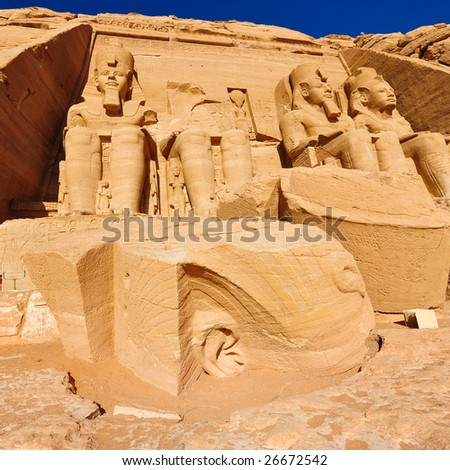 Fallen head of Ramses II statue at Abu Simbel, Egypt - stock photo