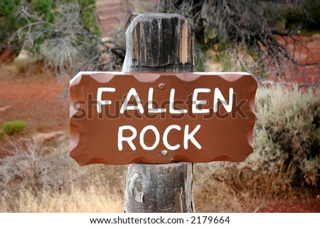 Fallen rock sign in the Colorado National Monument.