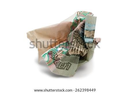 Fallen Russian ruble - stock photo