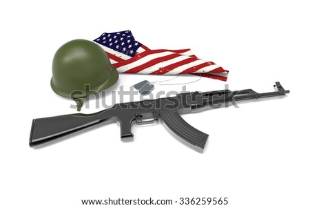 Fallen soldier tribute, helmet, gun, boots,dog tag and flag, 3d render - stock photo
