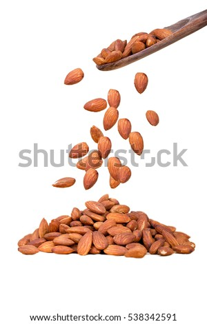 Falling Almond on white background