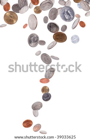 Falling American Coins - stock photo