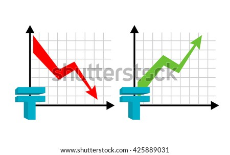 Falling and rising tenge, oil. Red down arrow. Green up arrow. Kazakhstan currency quotes reduction money. Increase of sales volumes of market for cash. Set graph  for business infographic - stock photo