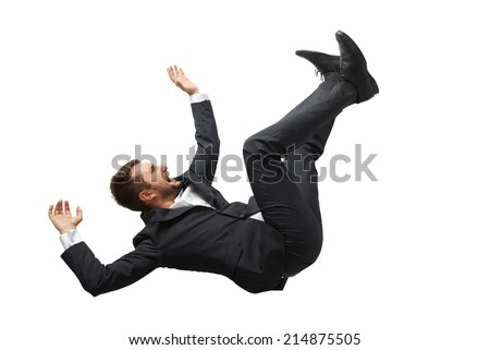 falling and screaming businessman in formal wear over white background - stock photo