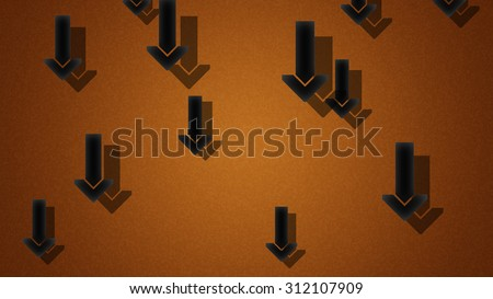 Falling arrows on brown background - stock photo