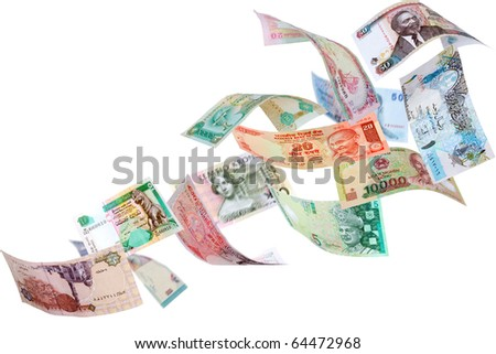 Falling Banknotes from different countries, isolated on white background - stock photo