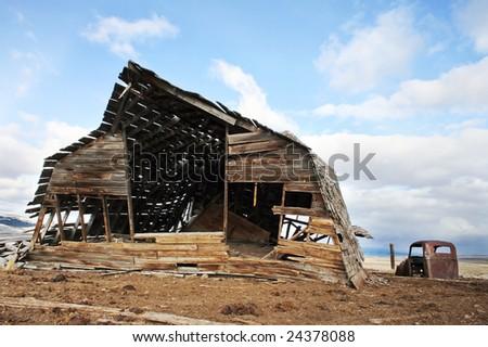 Falling Barn in Montana - stock photo