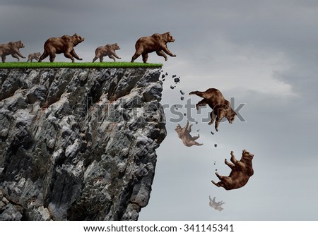 Falling bear market financial decline business and plummeting finance concept for losing investment and value taking a nose dive as a group of bears in a free fall  dive off a financial cliff. - stock photo
